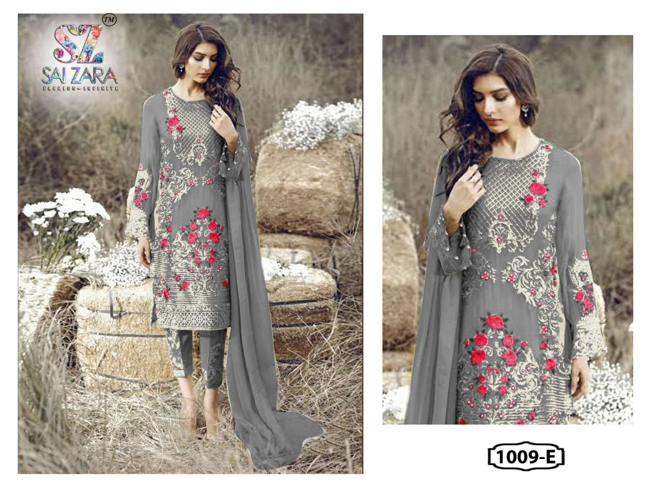 DESIGN NO.1009-E GEORGETTE SUIT BY SAI ZARA