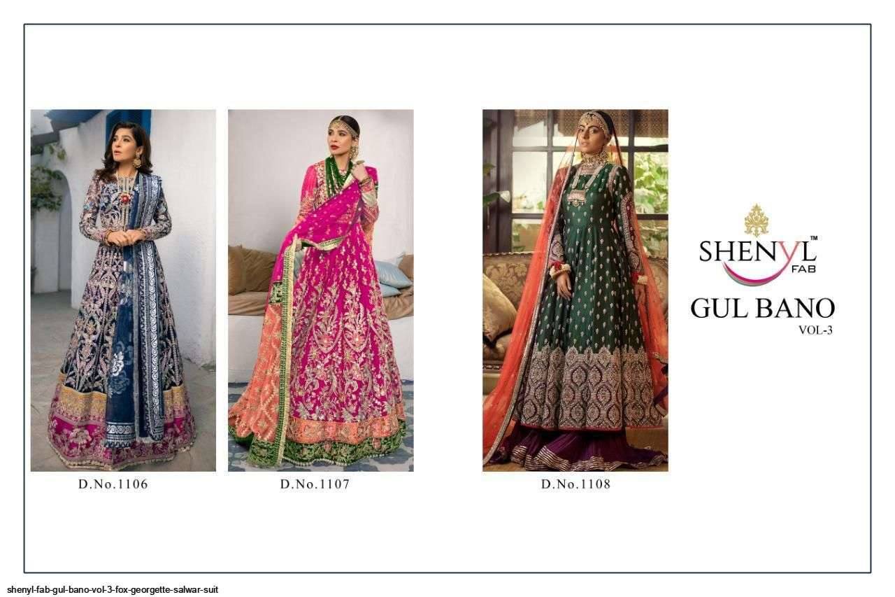 DESIGN NO. 1106 TO 1108 GULBANO VOL-3 SALWAR SUIT BY SHENYL FAB