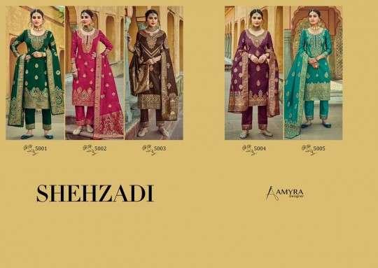 DESIGN NO. 5001 TO 5005 SHEHZADI SALWAR KAMEEZ BY AMYRA DESIGNER