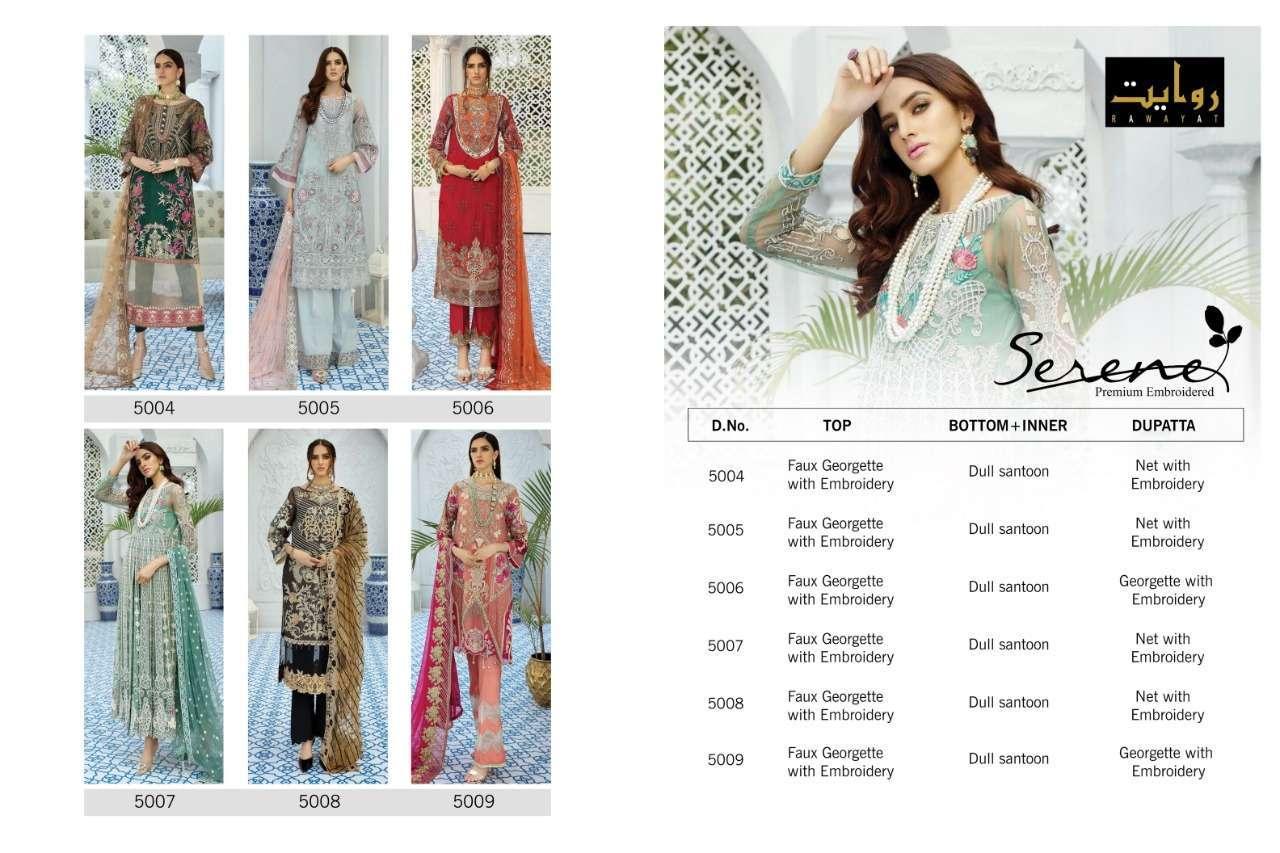 DESIGN NO. 5004 TO 5009 SERENE SALWAR SUIT BY RAWAYAT