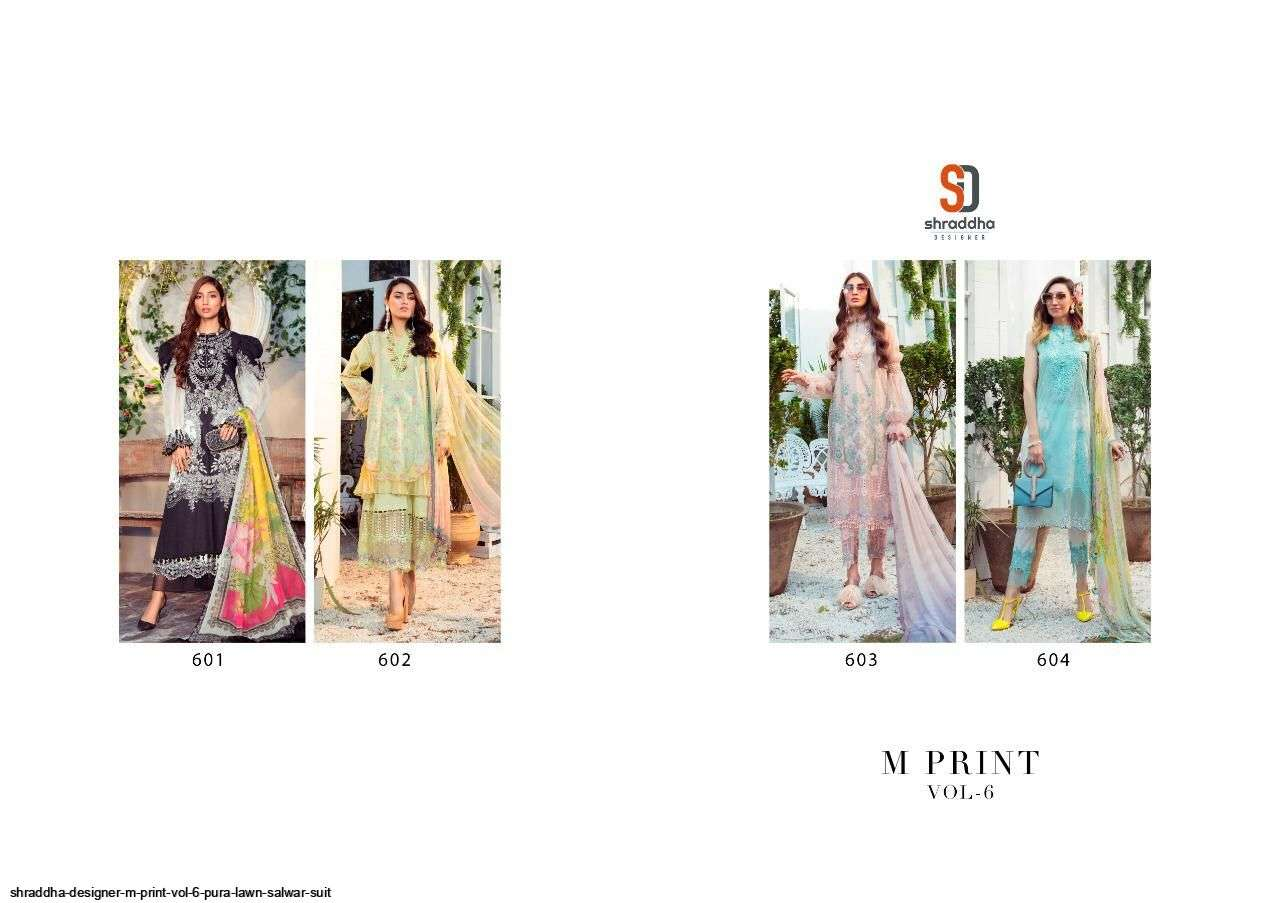 DESIGN NO. 601 TO 604 M PRINT SALWAR SUIT BY SHRADDHA DESIGNER