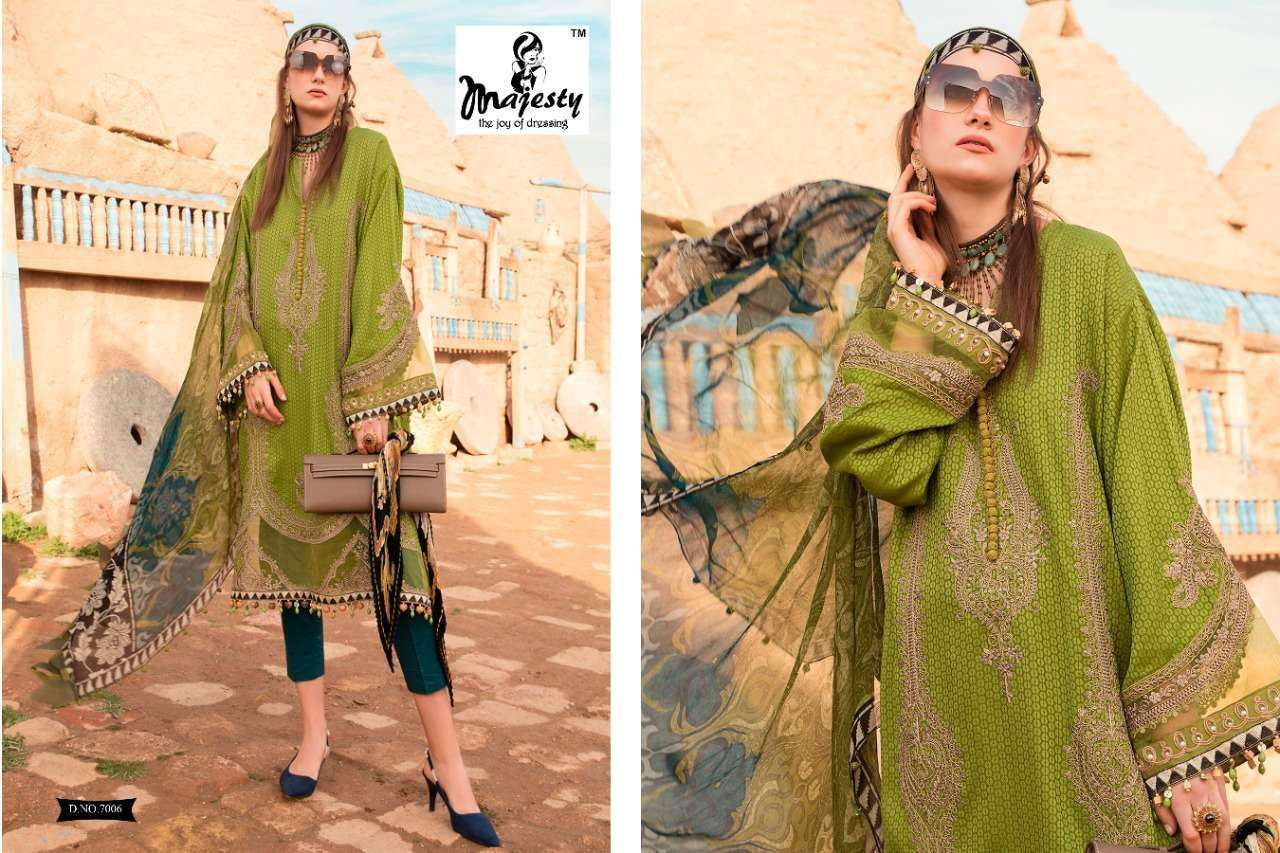 DESIGN NO. 7001 TO 7006 MAJESTY MARIA B LAWN BY M PRINTS
